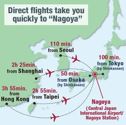 "Direct flights take you quickly to ""Nagoya"""